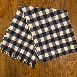 J. Crew Navy and White Gingham Scarf